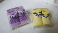 NEW 2 Pair of Fiddlesticks Baby Booties Size 0-6 Months 1 Yellow 1 Purple