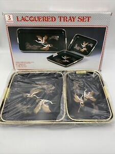 Vintage Japanese 3Pc Lacquerware Serving Tray Set Made In Japan Bird Design