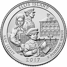 "2017 ELLIS ISLAND, NEW JERSEY ""ATB"" NATIONAL PARK QUARTER P+D 2-COIN SET UNCIRCU"
