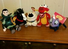 DISNEY MULAN BEAN PLUSH TOY SET 5 Cricket NWT Little Brother Khan Mushu Mulan