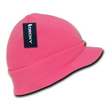 Neon Pink Solid Campus Visor Jeep Skull Knit Winter Beanie Cap Caps Hat Hats