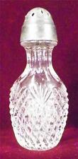 Antique Pineapple & Fan Salt Shaker Early American Pressed Glass Pewter Lid