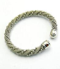 Silvertone Twisted Chain Metal Cuff Bracelet