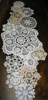 "lot of 14 Hand Crochet Doilies 5""-7""-15"" Wht & Natur VTG Wedding Tea Party NEW"