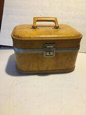 Vintage 1960s Harvest Gold Marbled Train Case Vanity Luggage