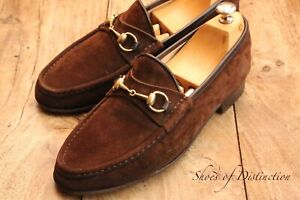 Men's Gucci Brown Leather Suede Shoes Bit Loafers UK 11 EU 45 US 12
