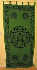 Celtic Green Man Nature God Curtain Green Black Wall Hanging Cotton #CT58GN