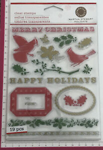 Martha Stewart Clear Stamps ~ Holidays ~ Merry Christmas Happy Holly Birds ~19pc