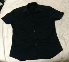 Prada Men Button Up Short Sleeve SS Shirt VTG Retro Size 39 15 1/2 / L Navy blue