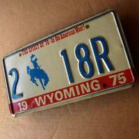 WYOMING 1975 Altes Blech Nummernschild ORIGINAL TOP US Plate 2 18 R Cowboy  HECK