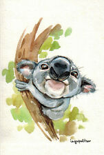 VERY CUTE KOALA ON THE TREE Modern Russian postcard by Inga Paltser