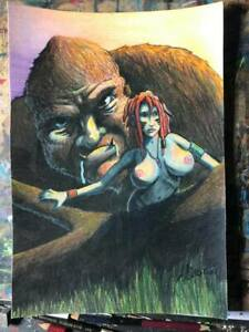 BIGFOOT SASQUATCH COLORED PENCIL OUTSIDER LOWBROW HORROR GEORGE SILLIMAN