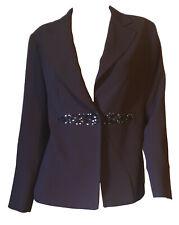 Giacca Elegante Classica Strass Pietre Blazer Donna Calibrata Marrone Tg 17 46