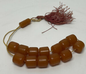Root Beer Brown Cylinder Chunky Bakelite Prayer Beads - 14 Beads