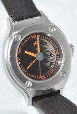 Fastrack by Titan Retro Watch Black Silver Flame Fire Dial Brown Leather Band