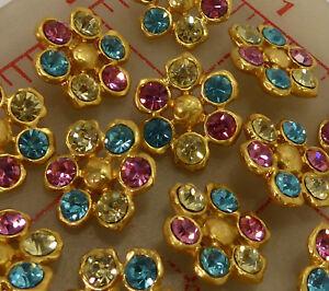 """12 Czech multi matte gold metal rhinestone shank buttons pink blue 3/4"""" #709"""