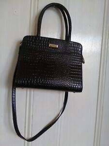 Osprey London Mock Croc Leather Handbag shoulder strap Pre-owned Black