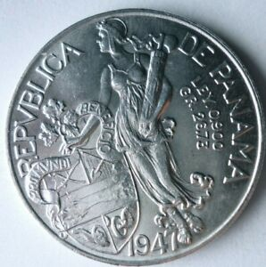 1947 PANAMA BALBOA - HIGH GRADE/VALUE - Low Mintage Silver Coin - Lot #S22