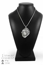 Tibetan Mastiff - silver plated necklace with silver cord, high quality, Art Dog