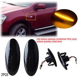 2pcs Dynamic LED Side Marker Turn Signal Light For Nissan qashqai juke x-trail