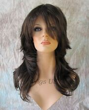 Long Wig Dark Brown Auburn Mix Choppy Layers Lots of Motion Volume Bangs Wigs US