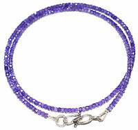 Necklace Strand 925 Sterling Silver Blue Zircon 3mm Round Faceted Beads UJ55454