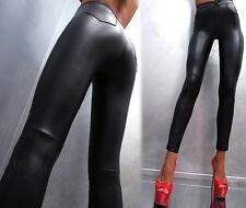 NEU 2017 Luxus Leder Leather Look Sexy Stretch M48 Pants Damen Hose Schwarz S
