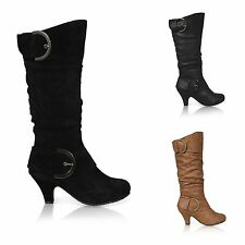 WOMENS LADIES MID HEEL WINTER TWIN BUCKLE ZIP CALF KNEE RIDING SHOES BOOTS SIZE