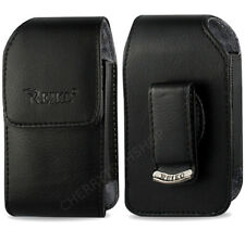 OEM REIKO Vertical Leather Swivel Case for Medium Size Flip Phones 4.25x2.0x0.9""