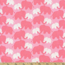 Imaginarium Elephants Pink Camelot 100% cotton flannel fabric by the yard