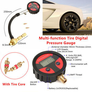 Car Cycle Tire LCD Digital Pressure Gauge Deflator Air Deflators + Tire Core Kit