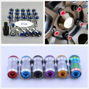 20X Blue Alloy Steel M12X1.5 Racing Plum Car Hub Anti-theft Nuts Screw Universal