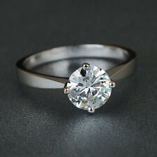 Round 1.00 Carat Lovely Off White Moissanite Engagement Ring 925 Sterling Silver