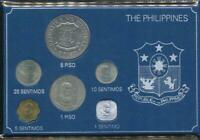 Philippines 1975-1982 mixed date set of 6 Uncirculated Coins Carded