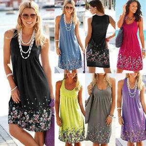 Womens Boho Floral Sleeveless Ladies Summer Loose Plus Size Dress Long Top 8-24