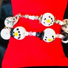 Bracelets His and Hers or Stacking Bands Mr & Mrs Frosty Snowman Matching Charm