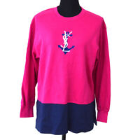 Yves Saint Laurent Round Neck Long Sleeve Tops Sweatshirt Pink #M GS02670