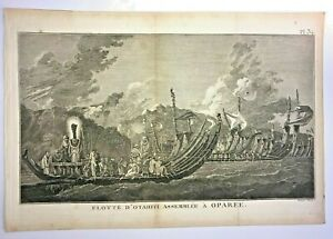 TAHITI NATIVE SHIPS 1780 JAMES COOK UNUSUAL ANTIQUE ENGRAVED VIEW 18TH CENTURY