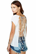 Maglia maglietta traforata aperta nudo T-shirt Cross Cut-out Back Clubwear Top