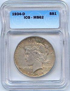 1934-D $1 Peace Silver Dollar. ICG Graded MS 62. Lot #2225