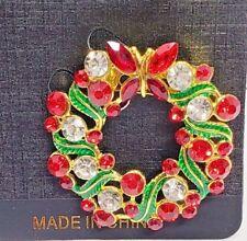 Christmas Wreath Brooch Pin Red White Rhinestones Gold Tone Green Enamel