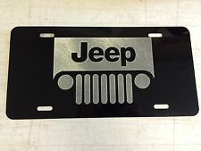 JEEP Grille Logo Car Tag Diamond Etched on Aluminum License Plate