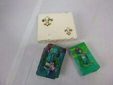 Vtg Mid Century Metal Fleur De Lis Playing Card Storage Box + 2 Decks of Cards