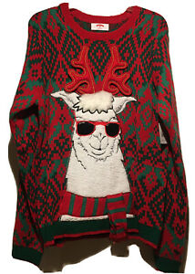 NWT HolidayTime Ugly Christmas Sweater Men's M(38-40) Green&Red White Llama Gift