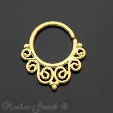 Nose Septum Cartilage Bendable Seamless Ring Swirl Filigree 14K Yellow Gold Ip