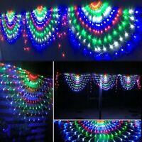 444LED Peacock Curtain String Lights Xmas Net Mesh Fairy Window Light Xmas 3*1M