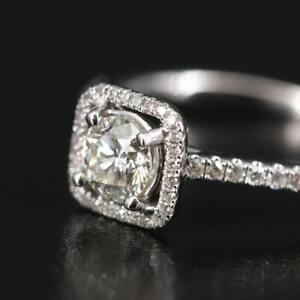 S. Kashi 14k White Gold .90 Ct Tw Diamond Halo Ring Size 6