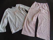 SANETTA Rosa weißer Nickivelours Pyjama Schlafanzug mit Polka Dots Gr.104