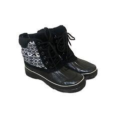 Women's Khombu Newbury Leather Rubber Black White Snowflake Winter Boots Size 9