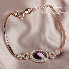 18K Rose Gold Plated Made With Swarovski Crystal Oval Cut Heart Lobster Bracelet